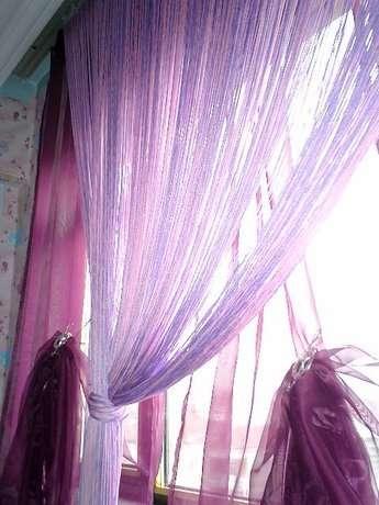Prensesimin pembeli lilalı odasına uygun olarak yaptığım ebruli ip perdemiz.