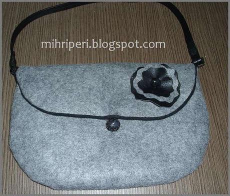 gri siyah keçe çantam
