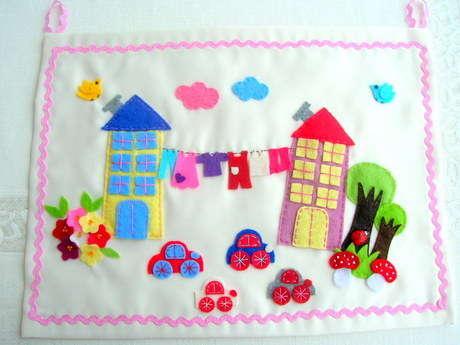 Çocuk odaları için el yapımı  keçe pano
