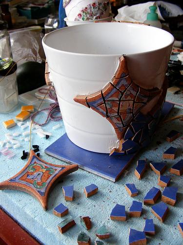 mozaik saksı yapım aşaması