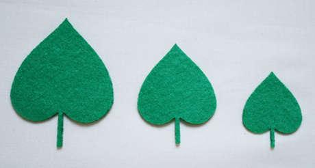 Keçeden kesme, ütüyle yapışan yaprak motifi