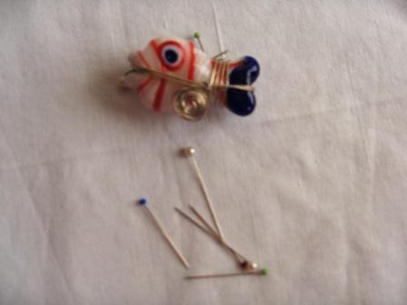 İğne toplama mıknatısı/Murano cam ve tel burgu bir arada:)))