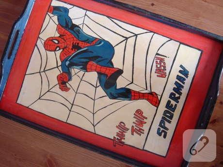 ahşap boyama spiderman tepsi