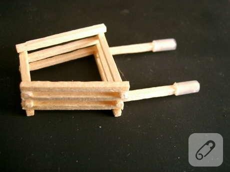 kibrit çöplerinden el arabası minyatür maket yapımı