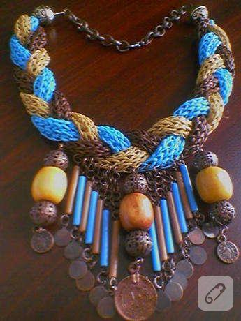 ipli-boncuklu-sari-mavi-kahverengi-kolye-tasarimi