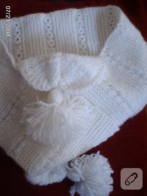 bebek örgüleri beyaz bebek atkısı