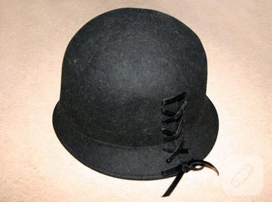 kurdele nakışı ile şapka yenileme