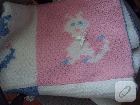 kedi desenli örgü bebek battaniyesi
