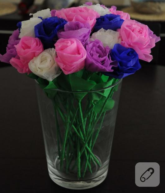 krapon kağıtları ile renkli çiçek yapımı
