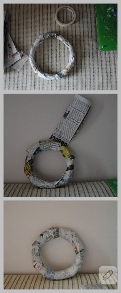 kağıt çiçekli çelenk kapı süsü yapımı
