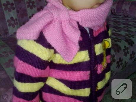 kız bebek için pembe örgü boyunluk modeli