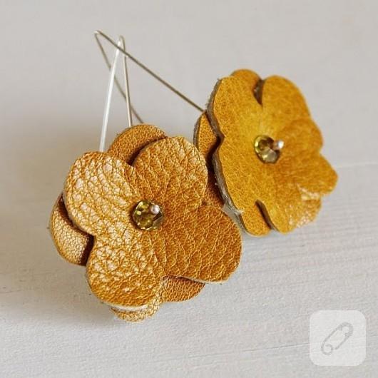 kolay çiçek deri küpe yapımı