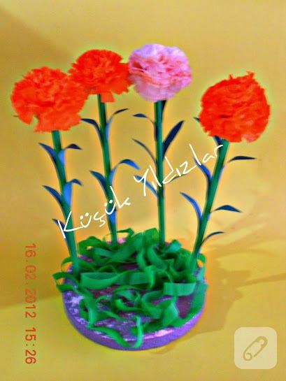 peçeteden çiçek yapımı