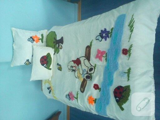 Keçe nakışı ile battaniye