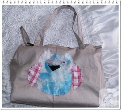 Baykuş aplike çanta
