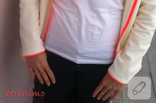 Neon detaylı ceket dikimi