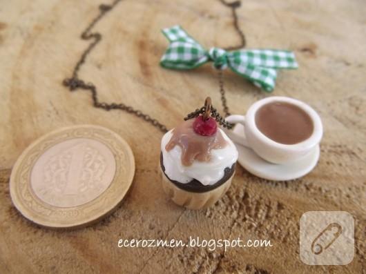 Polimer kil cupcake kolyeler