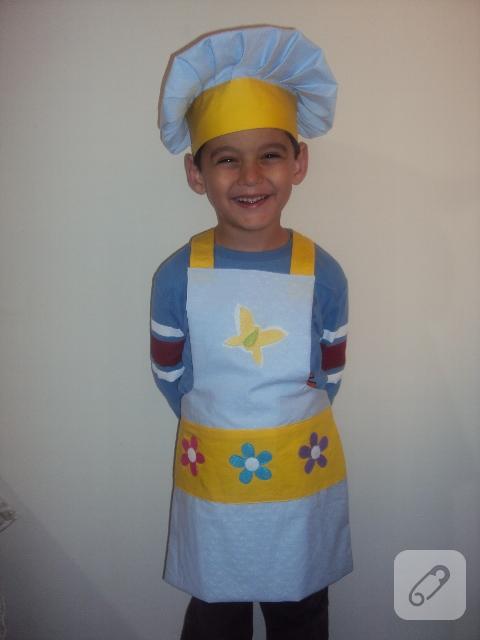 Çiçekli çocuk mutfak önlüğü