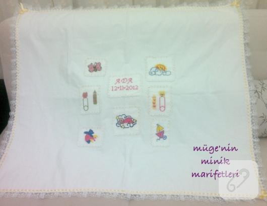 kanaviçe bebek battaniyesi