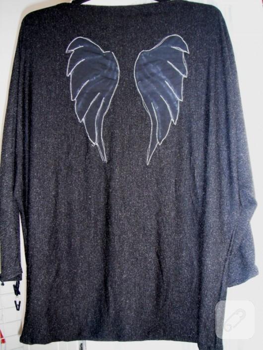 yarasa kollu penye bluz