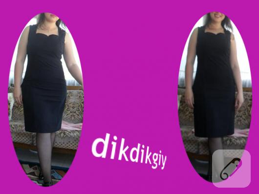 Siyah kare yaka elbise