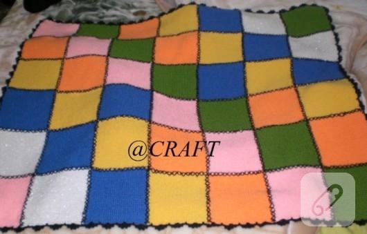 Patchwork örgü battaniye