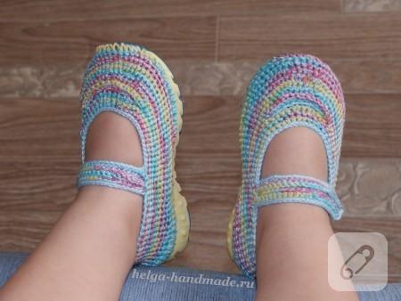 tığ işi ayakkabı