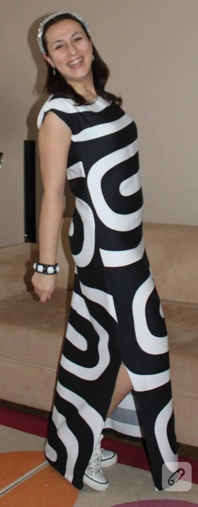 Uzun çizgili elbise