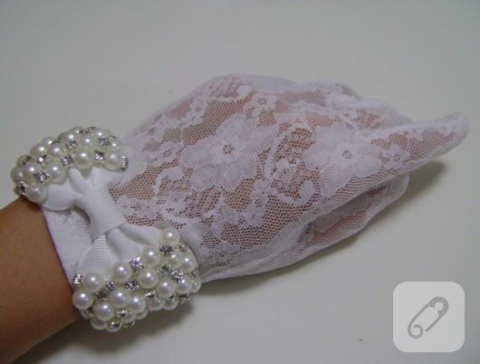 Beyaz dantel nikah eldiveni