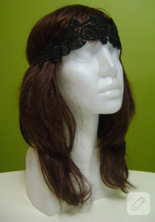 Siyah dantel saç bandı