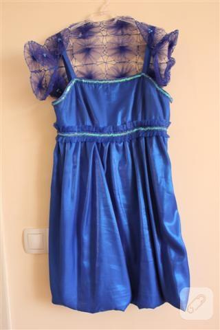 Mavi balon elbise