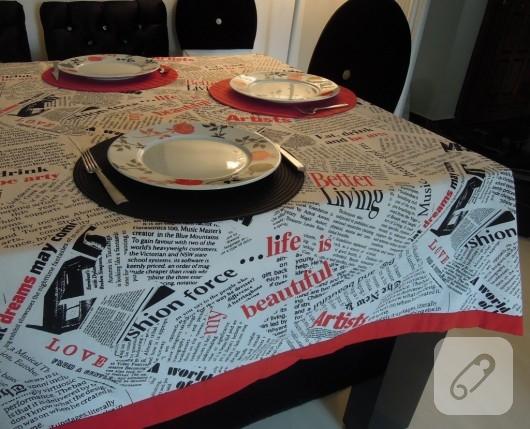Gazete desenli masa örtüsü