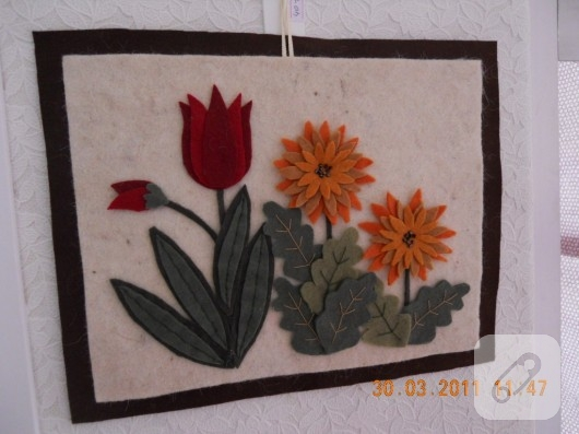 Keçe çiçekli el yapımı tablo