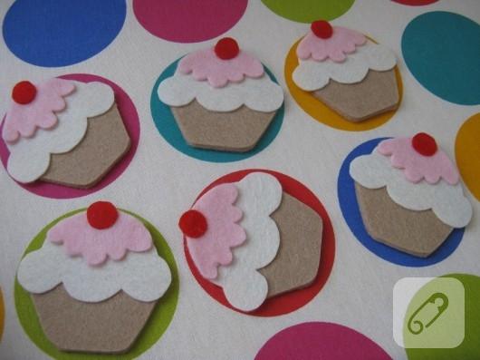 Cupcake keçe magnetler