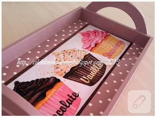 Cupcake desenli tepsi