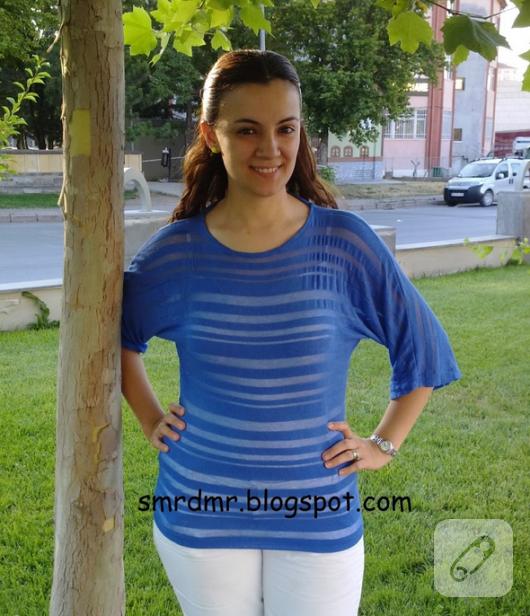 mavi bluz dikiş