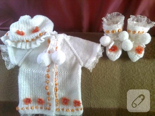 bebek örgüleri kız bebek takımı