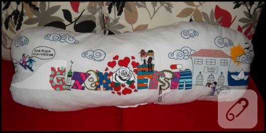 kumaş boyama aşk temalı yastık