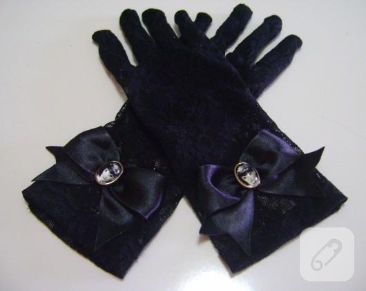 siyah dantel eldiven