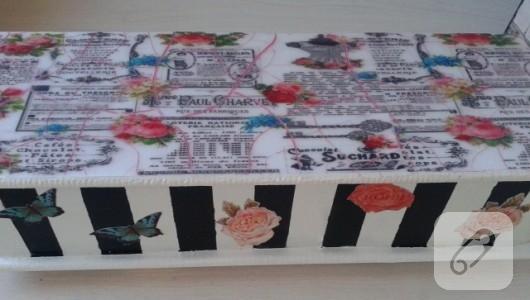 Ahşap boyama vintage kutu