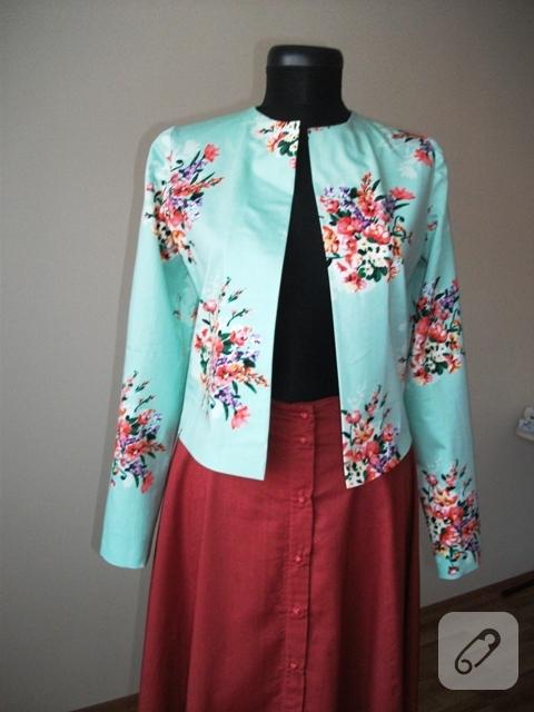 dikiş floral desenli ceket