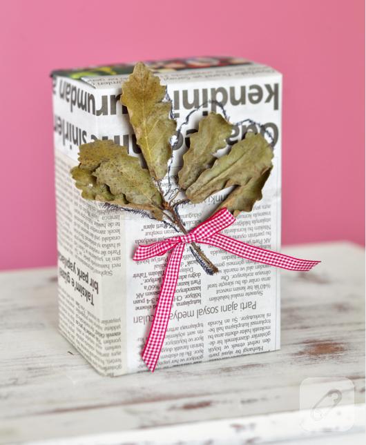 gazete kağıdı hediye paketi