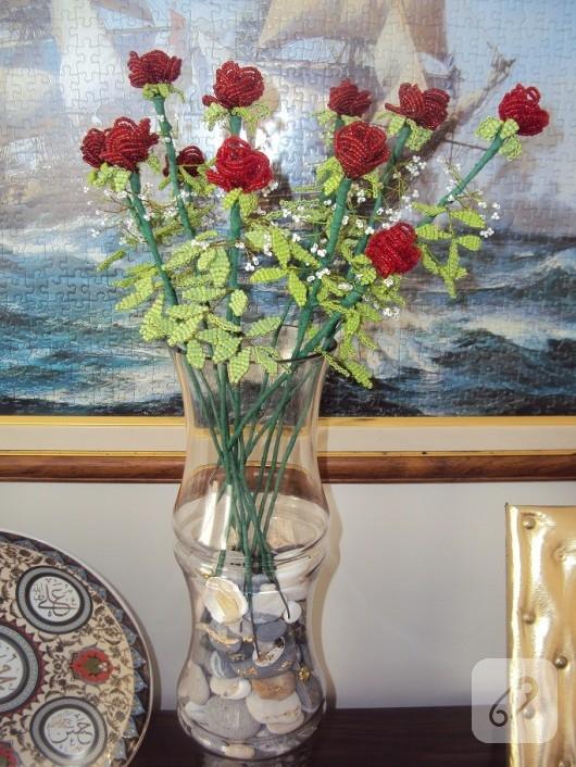 boncuk örme çiçek