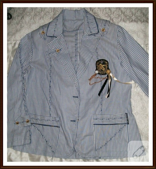 Lacivert çizgili marin ceket