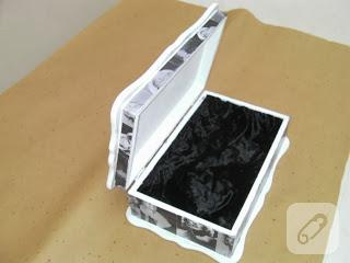 Resim dekupajlı takı kutusu