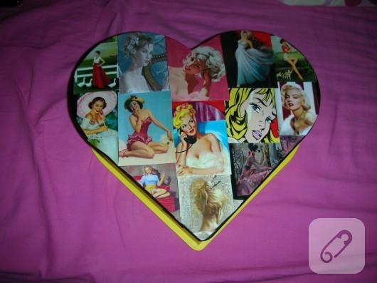 Dekupajlı ahşap kalp kutu