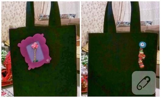 Siyah keçe çanta