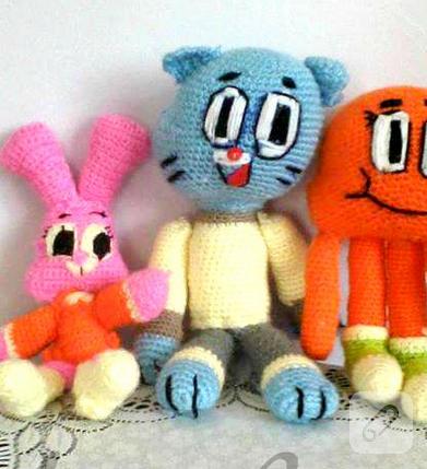 amigurumi örgü oyuncak gumball karakterleri