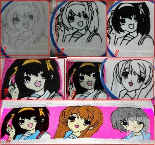anime desenli havlu kenarı işleme aşamaları