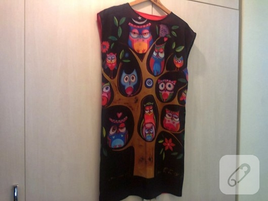 baykuş desenli elbise